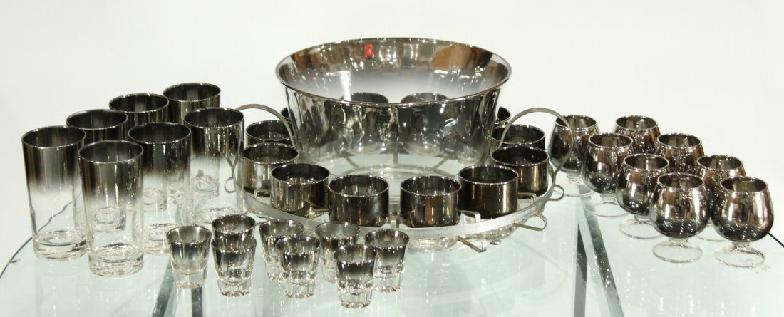 Mid-century modern silver fade punch bowl and glasses