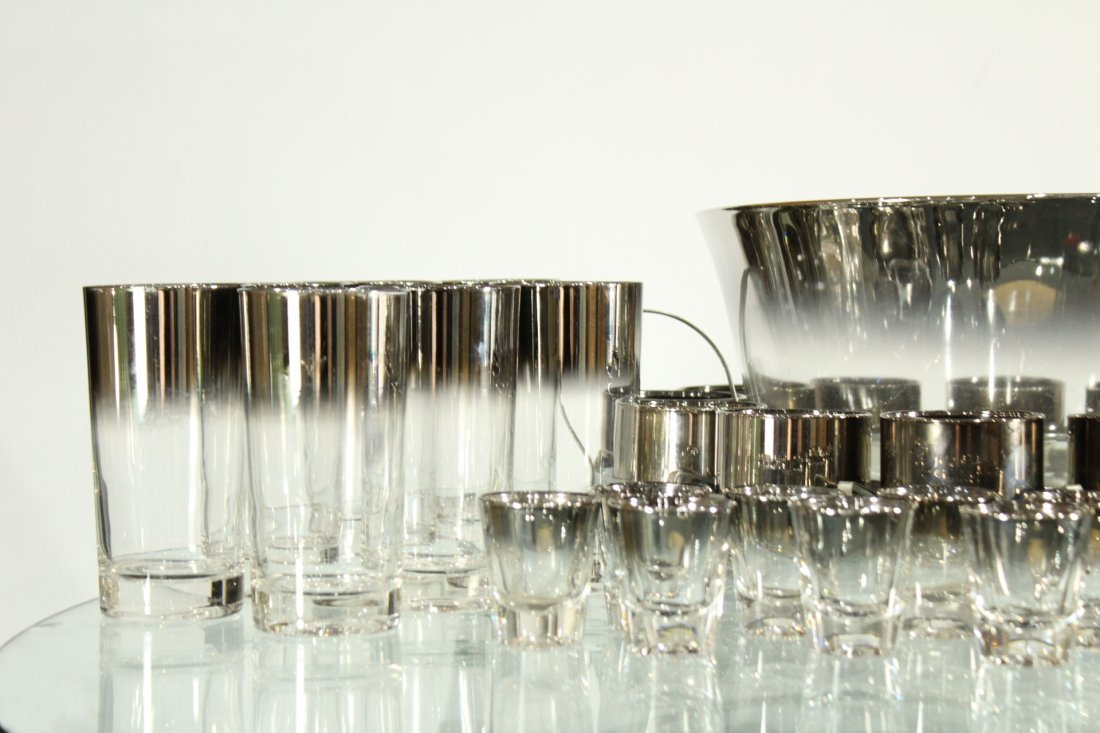 Mid-century modern silver fade punch bowl and glasses - 2