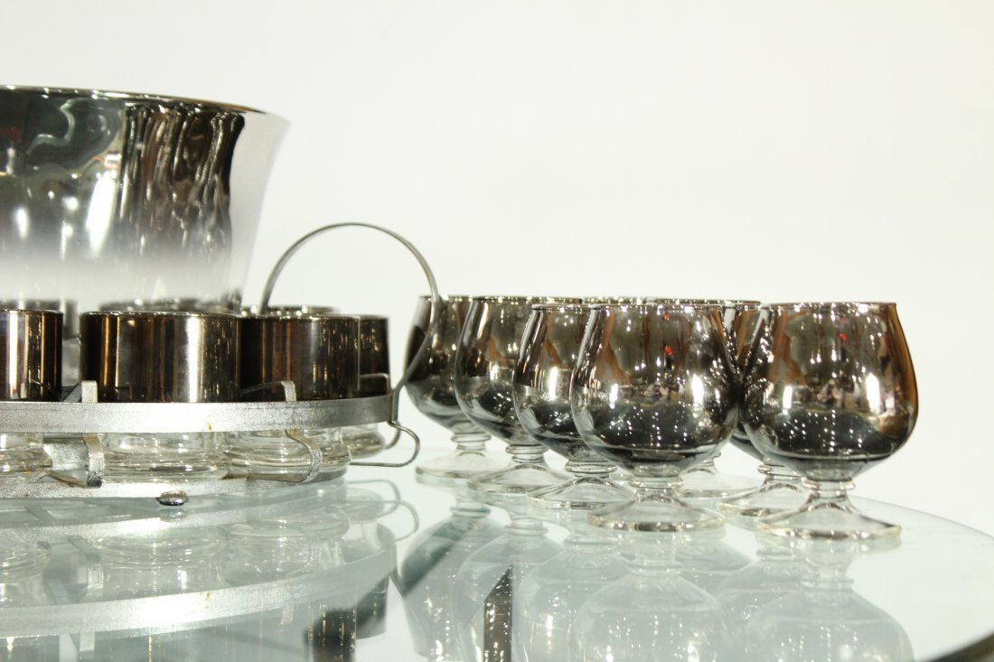 Mid-century modern silver fade punch bowl and glasses - 3