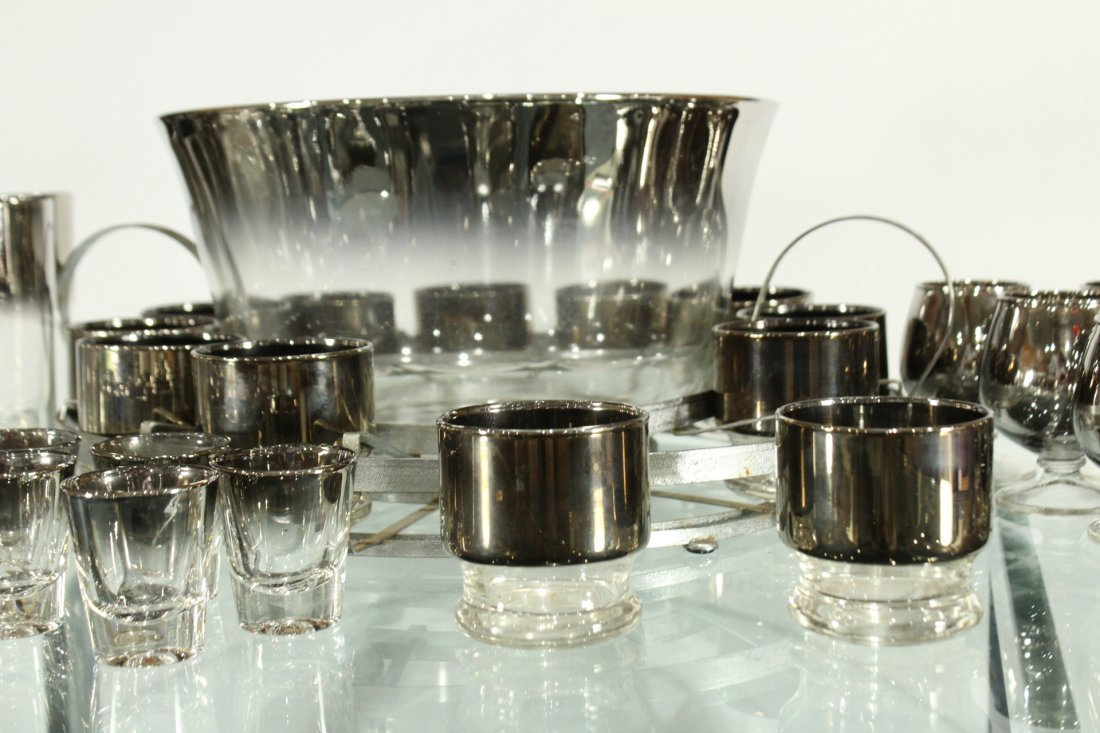 Mid-century modern silver fade punch bowl and glasses - 4