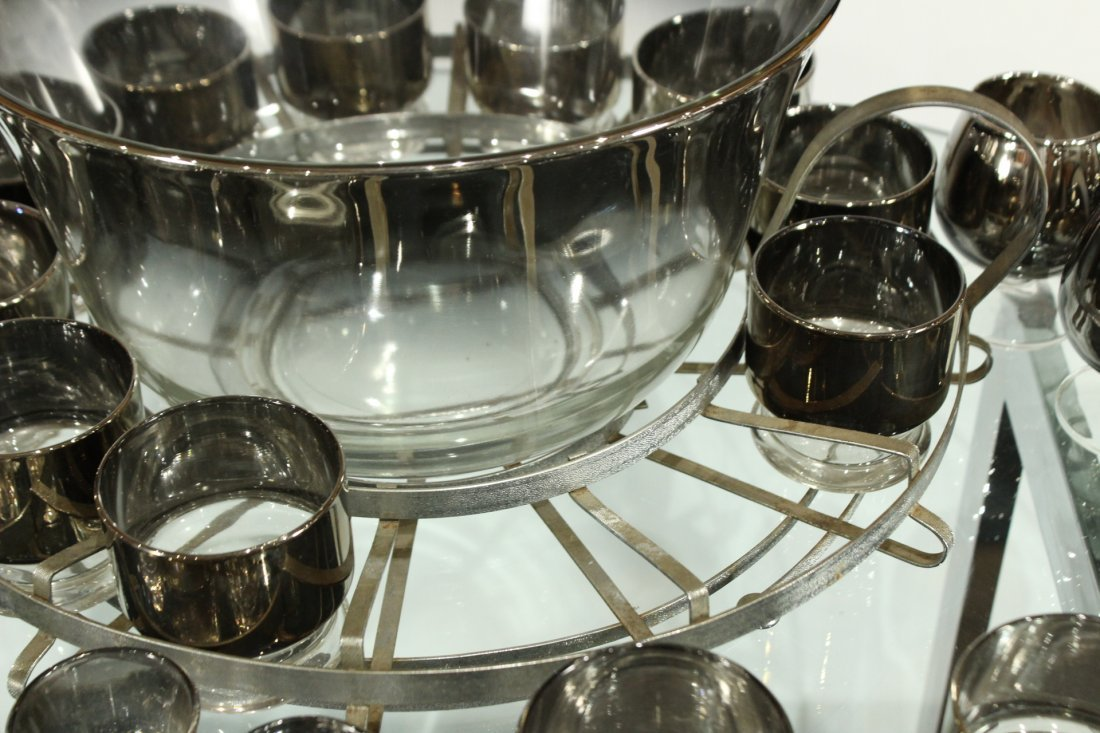 Mid-century modern silver fade punch bowl and glasses - 5
