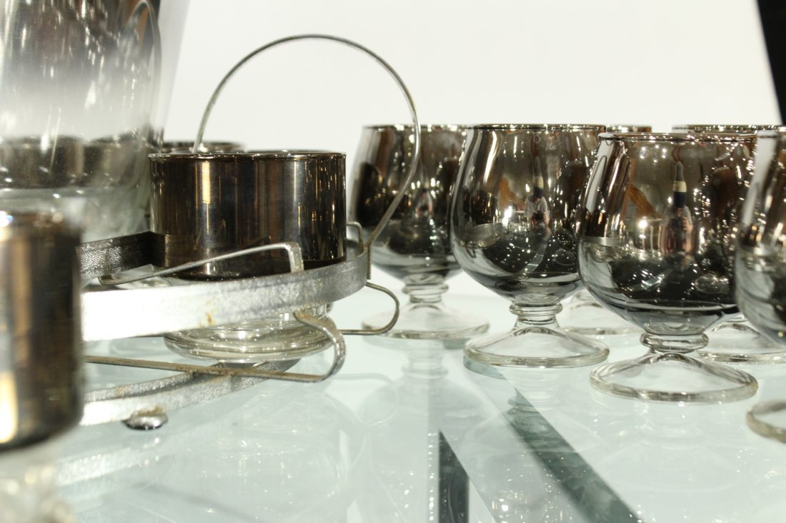 Mid-century modern silver fade punch bowl and glasses - 7