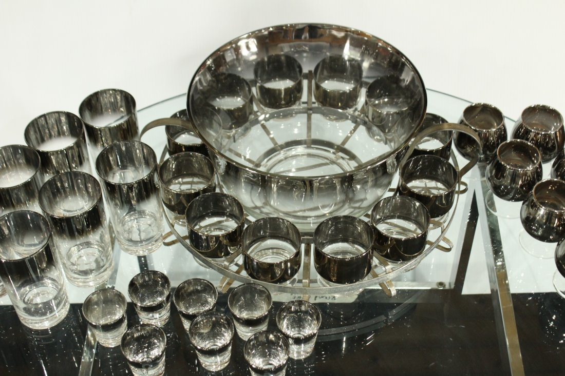 Mid-century modern silver fade punch bowl and glasses - 8