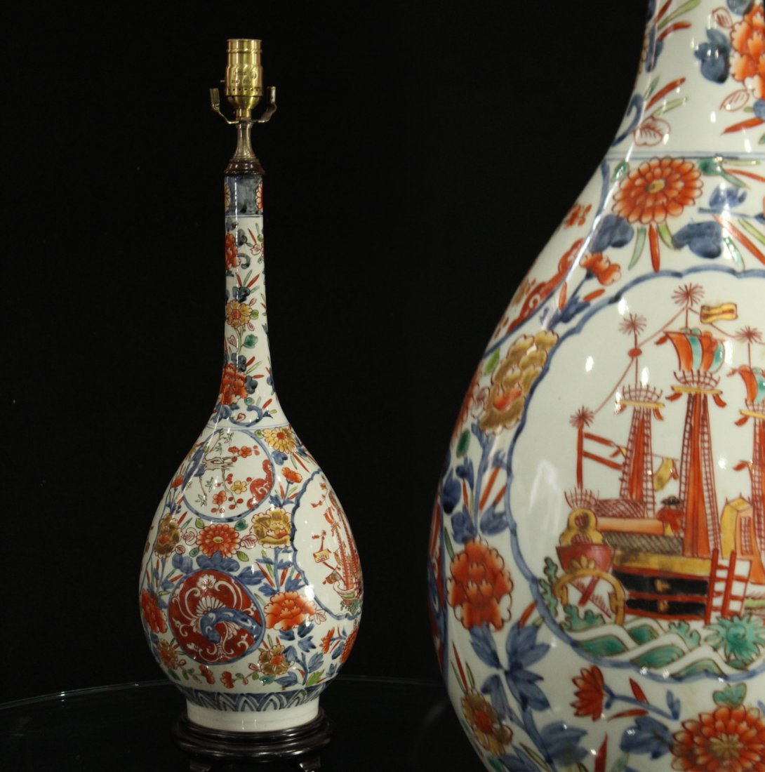 Porcelain oriental lamp with boat / ship
