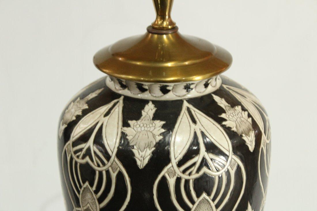 Ceramic mId-century Modern vase on Oriental pedestal - 3