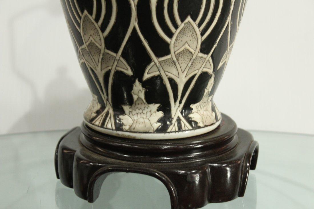 Ceramic mId-century Modern vase on Oriental pedestal - 4
