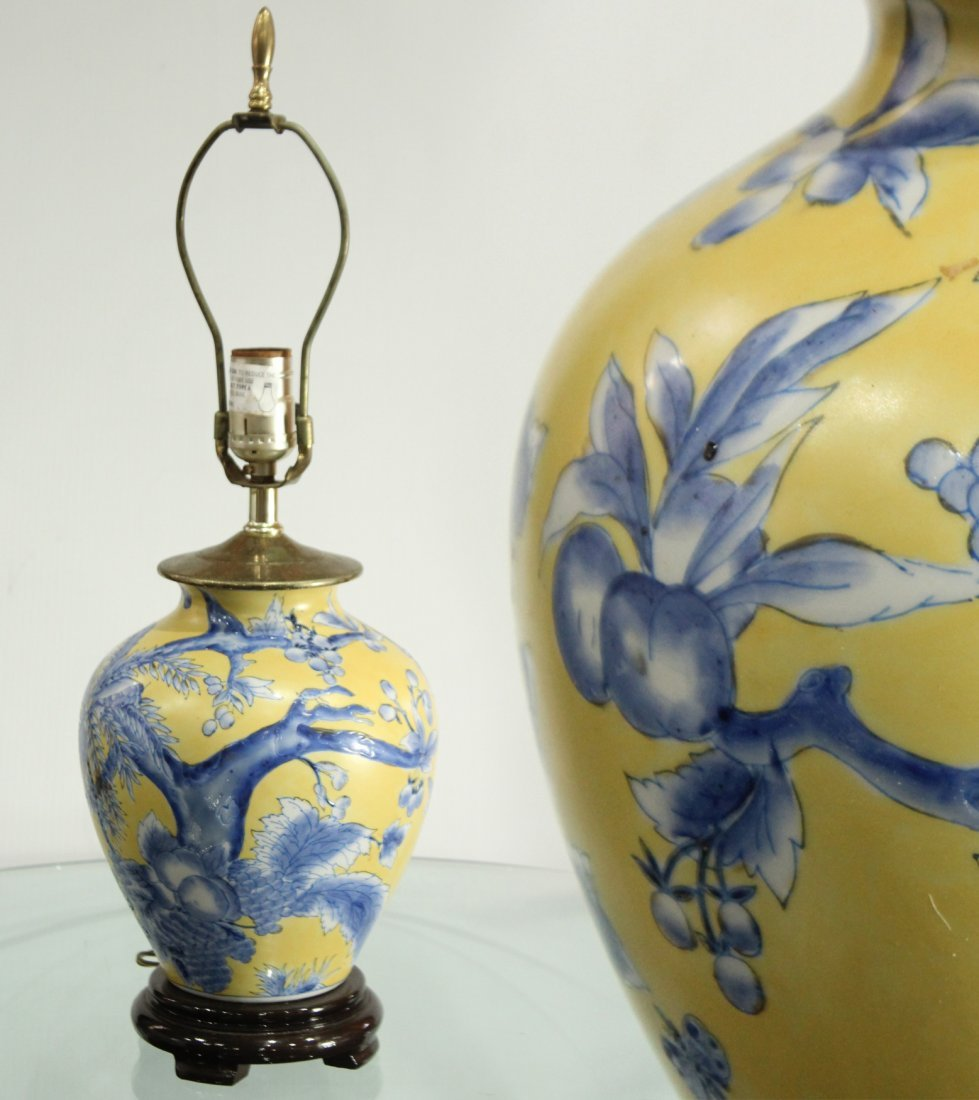 Oriental pottery lamp