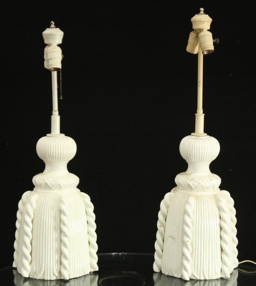 pair of white pottery ceramic lamps