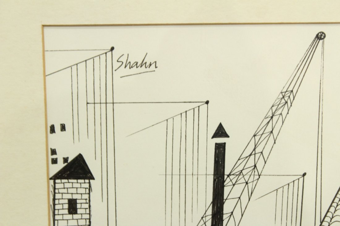 BEN SHAHN Ink and watercolor drawing INDUSTRIAL - 2