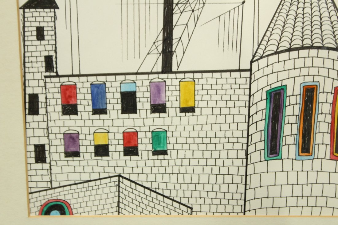 BEN SHAHN Ink and watercolor drawing INDUSTRIAL - 3