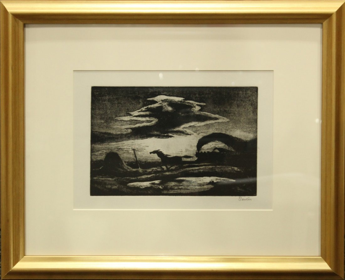 """Thomas Hart Benton Lithograph \""""The Race\"""""""