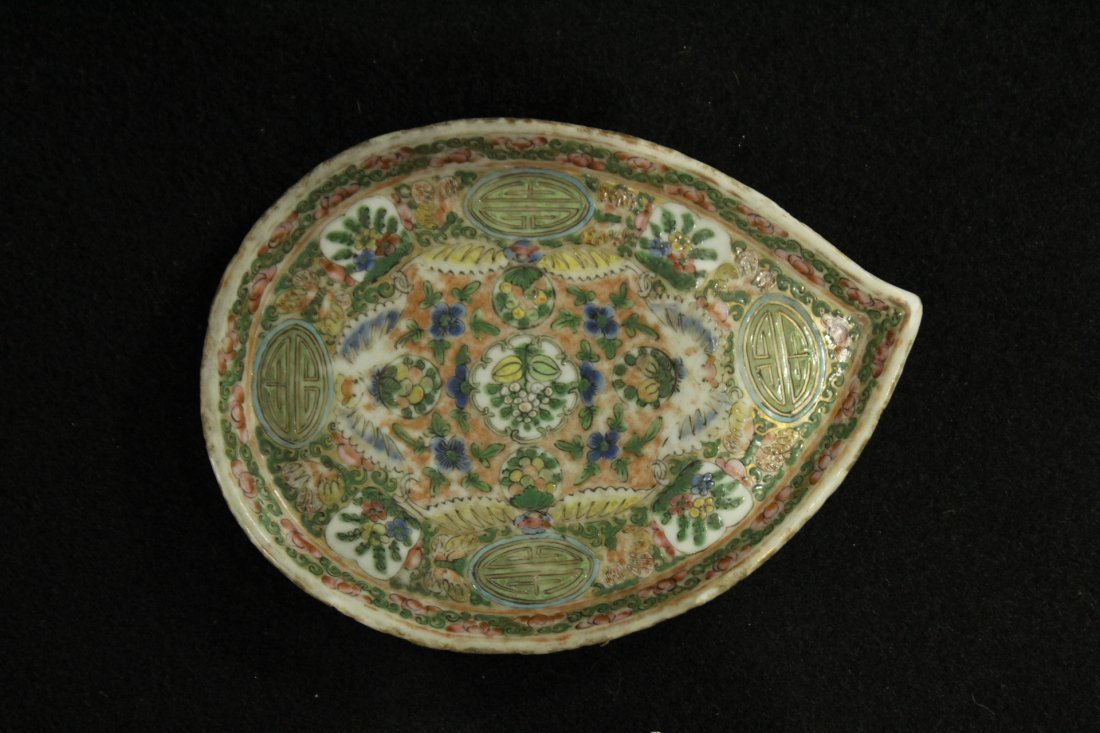 antique famille rose plate small dish - 2