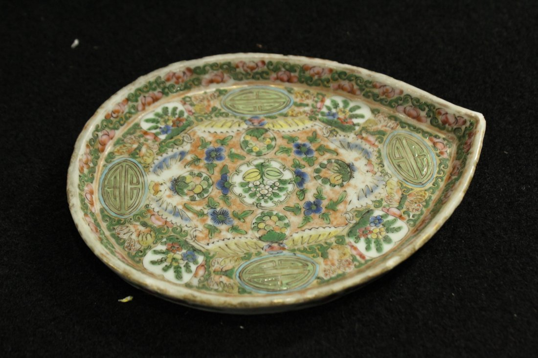 antique famille rose plate small dish - 3