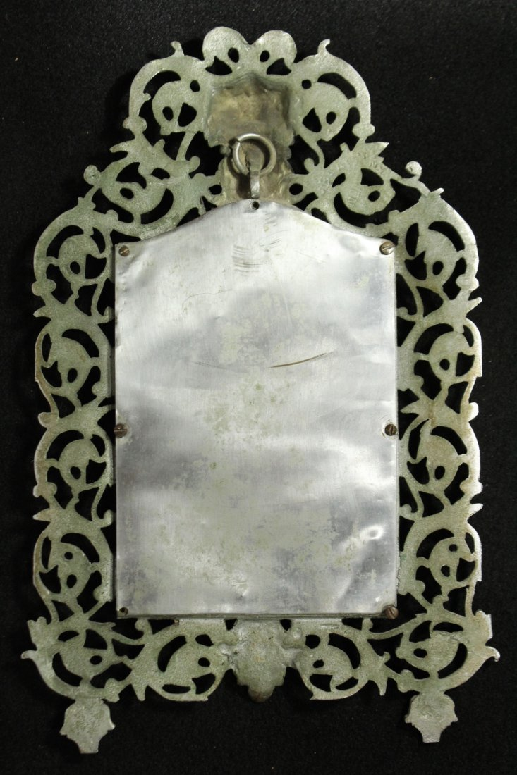 Antique Ornate Cast Iron Victorian Frame with Portrait - 5