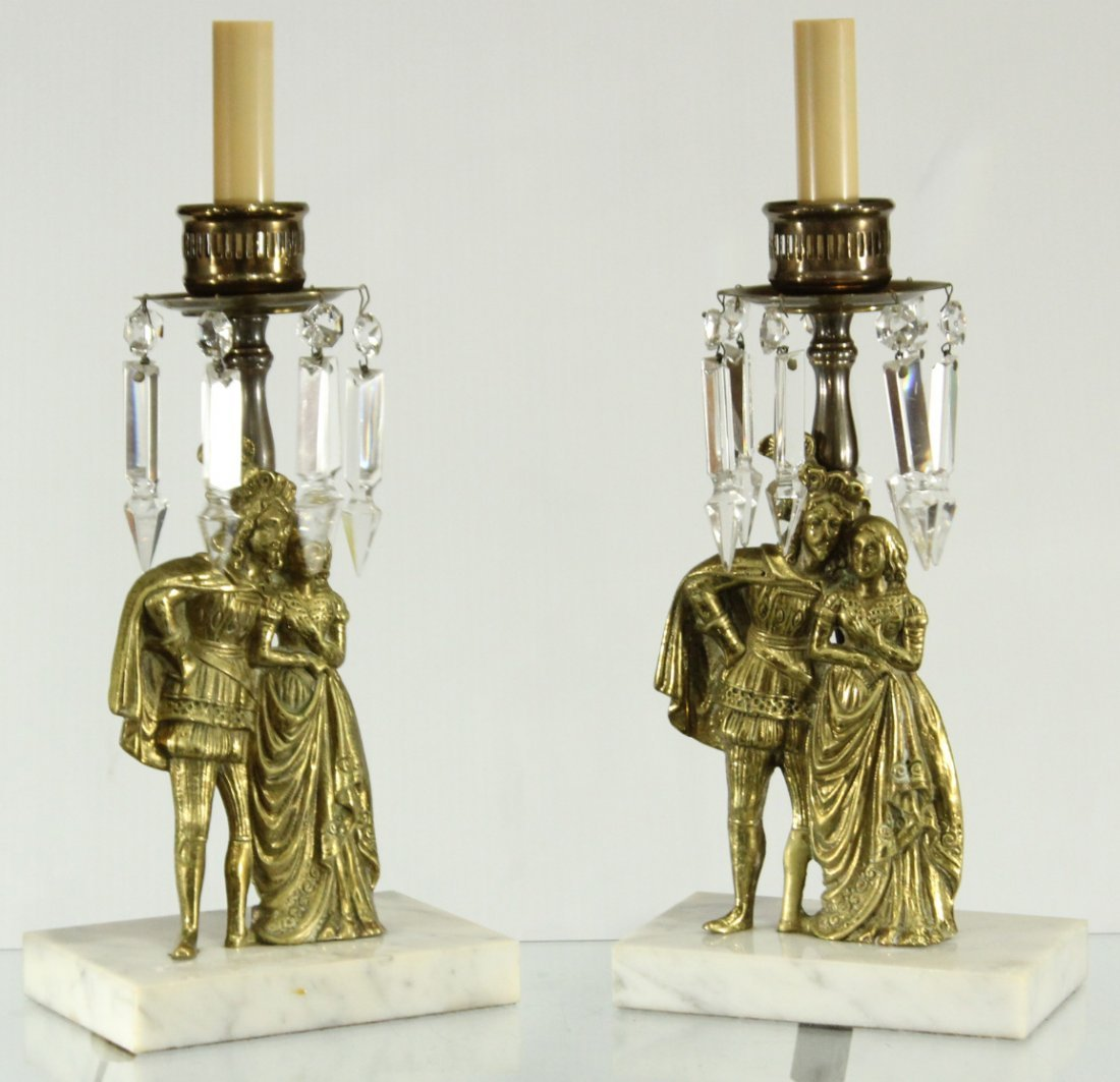 Rococo style king and queen cast brass lamps on marble