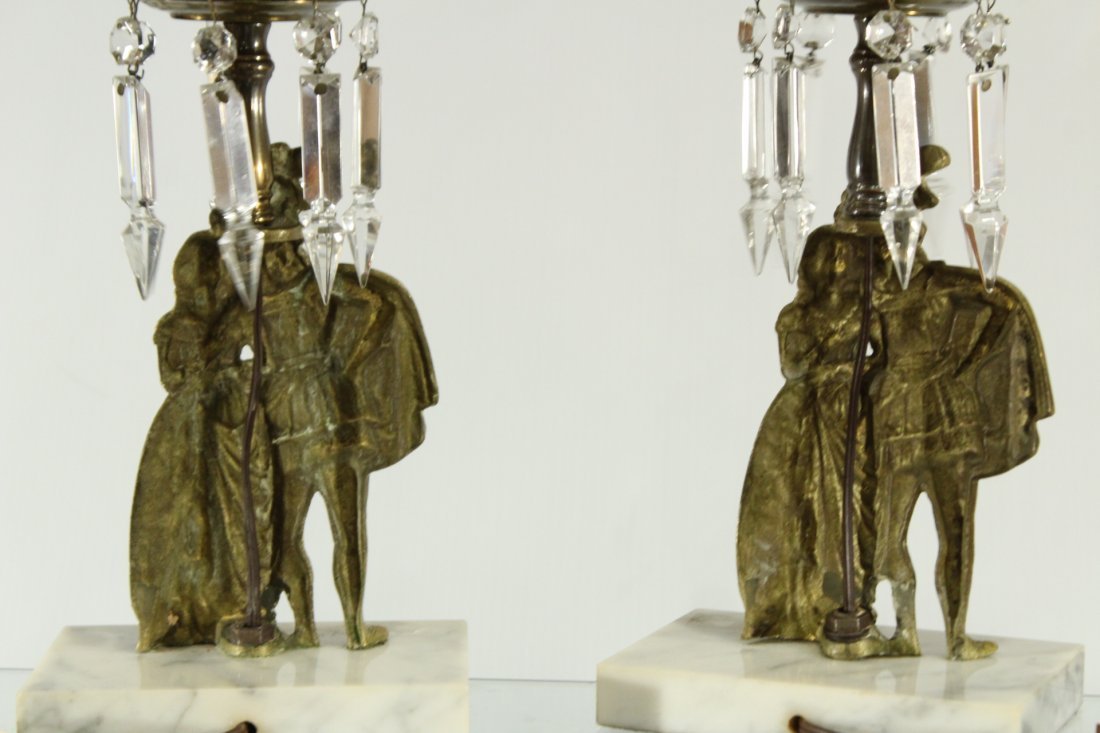 Rococo style king and queen cast brass lamps on marble - 4