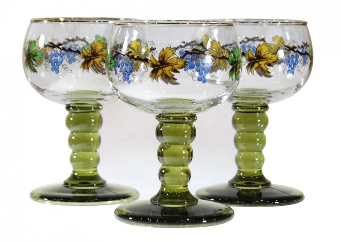 Roemer 3 Italian Glass Chalice Goblets Hand Painted