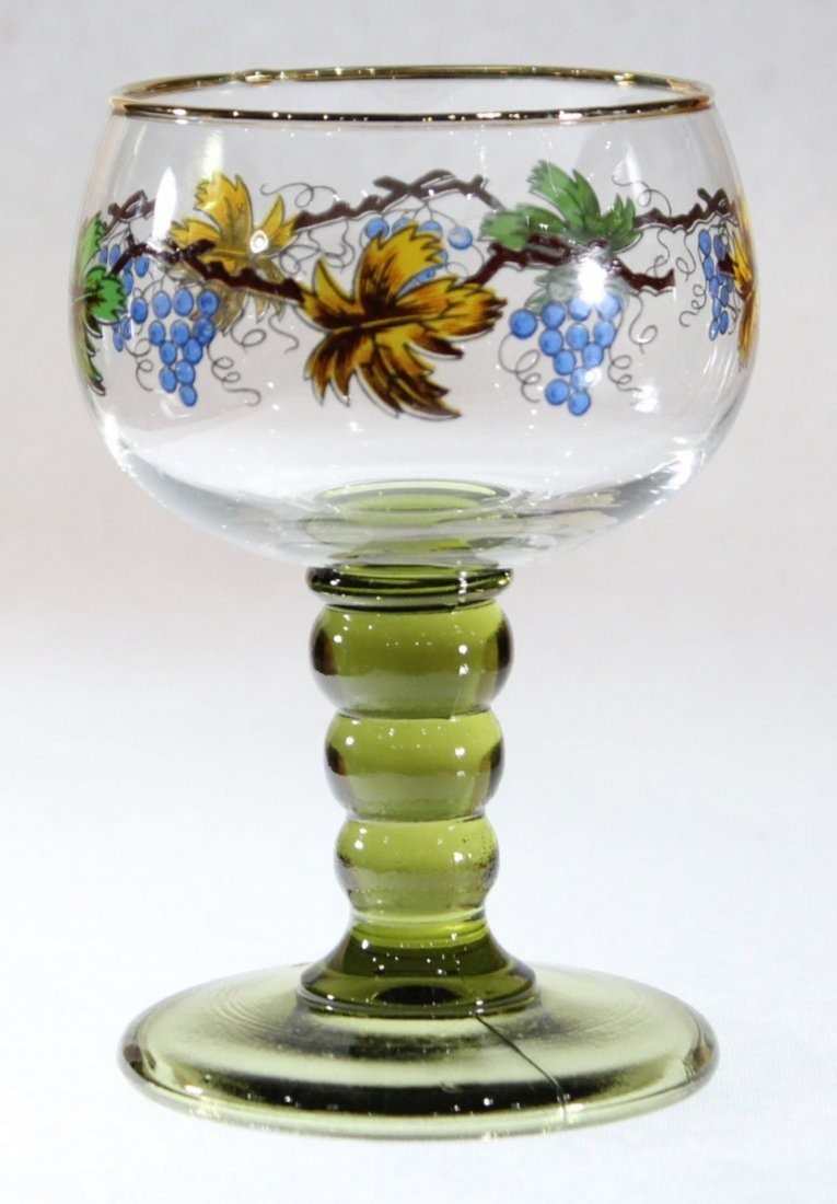 Roemer 3 Italian Glass Chalice Goblets Hand Painted - 2