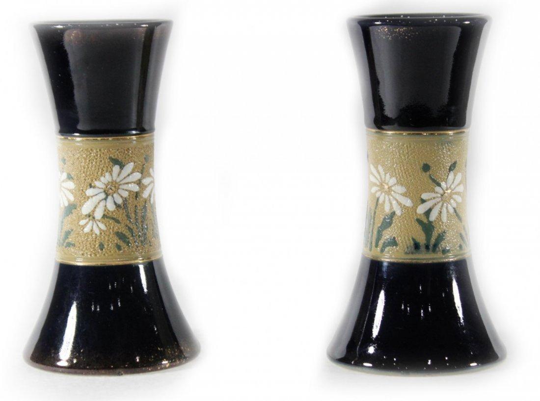 Pair Mid Century Cobalt Glazed Ceramic Vase Floral Band
