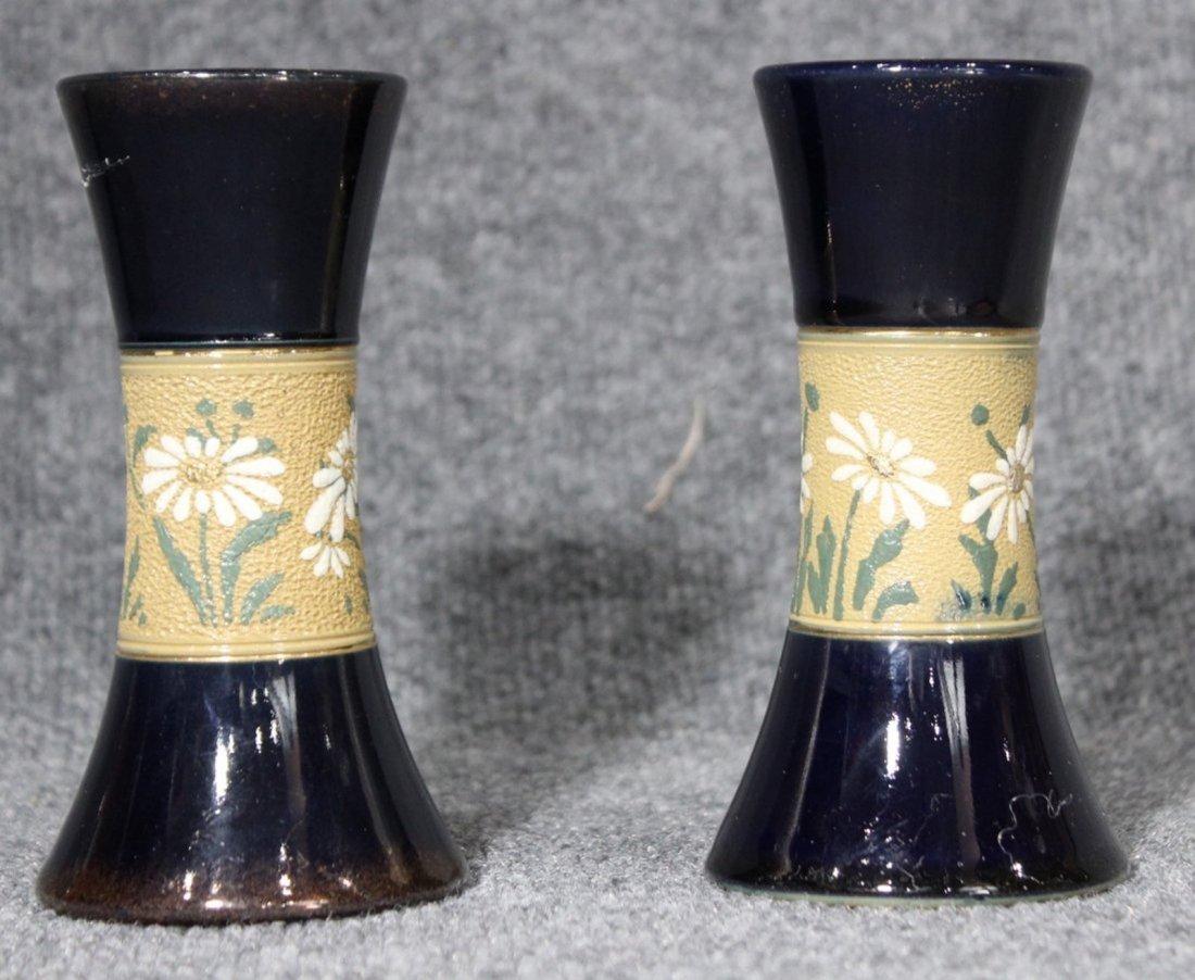 Pair Mid Century Cobalt Glazed Ceramic Vase Floral Band - 2