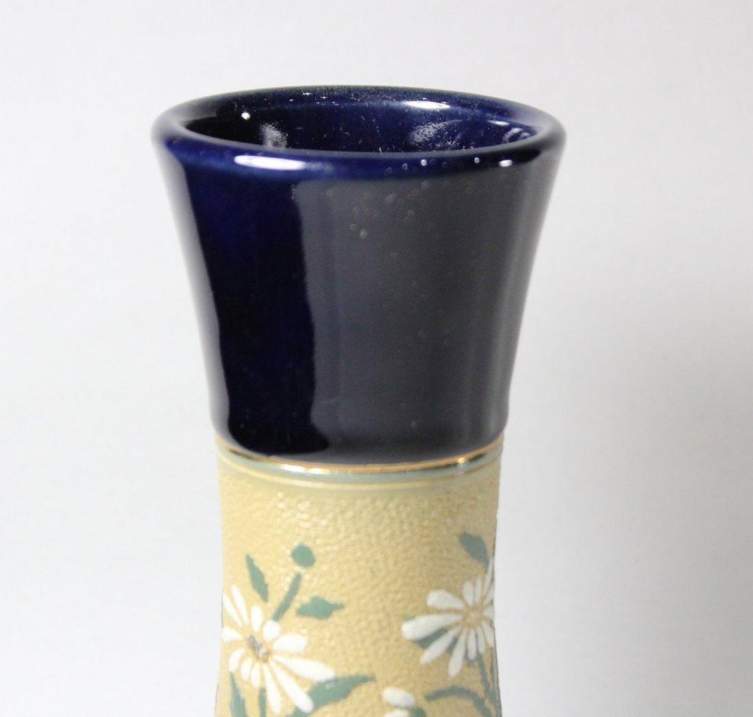 Pair Mid Century Cobalt Glazed Ceramic Vase Floral Band - 3