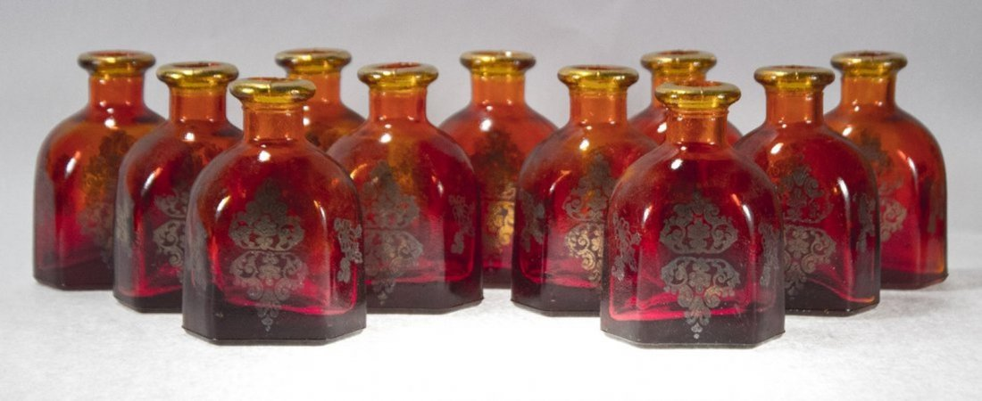 Eleven [11] Matching AMBERINA TABLE TOP BUD VASES