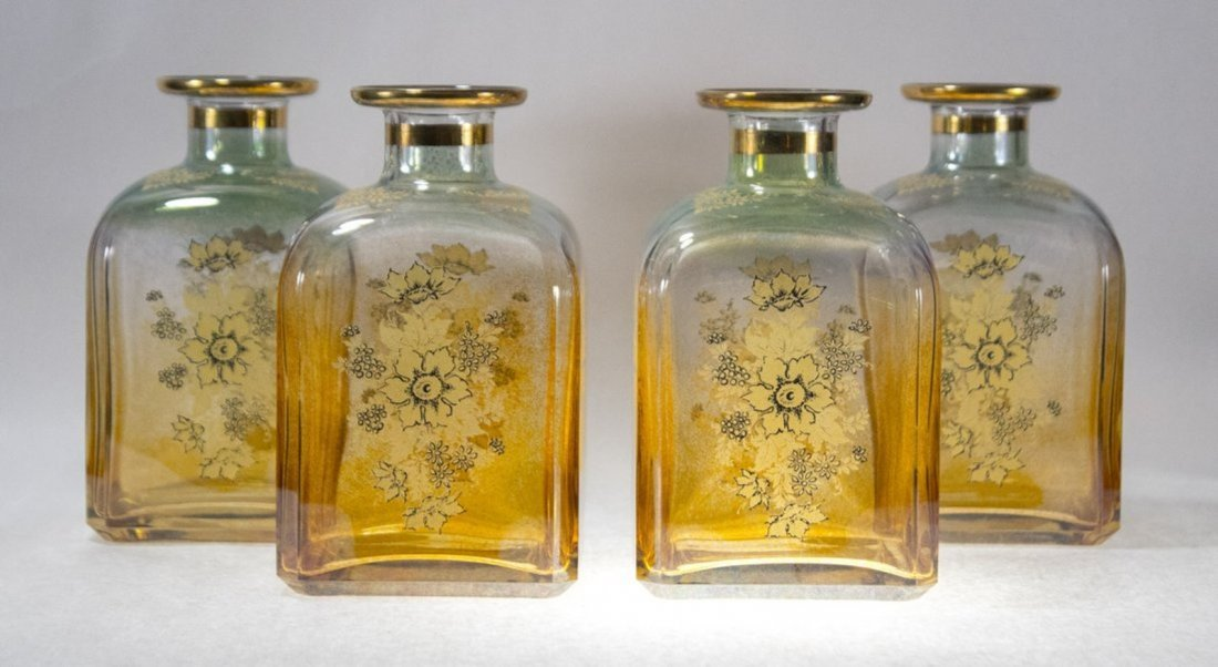 Set Four [4]  Italian Glass Bottles Decanters