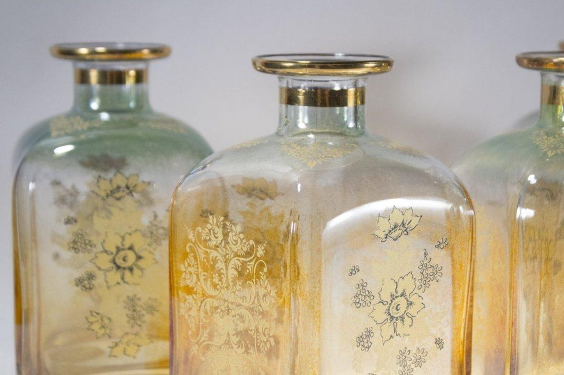 Set Four [4]  Italian Glass Bottles Decanters - 2