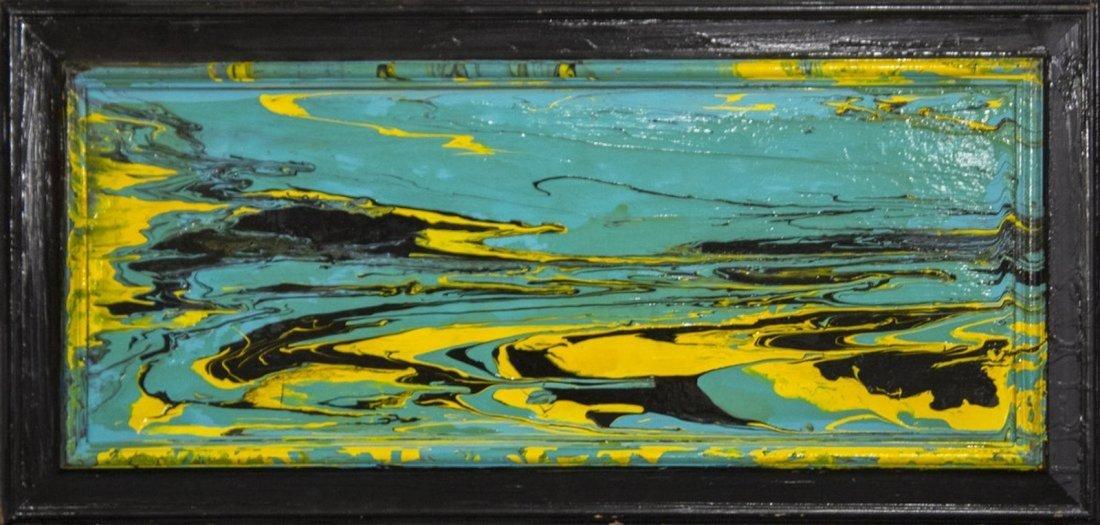 MID-CENTURY MODERN ABSTRACT OIL ON BOARD