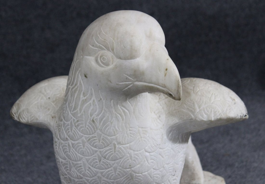 Solid Carved Marble Bald Eagle - 2
