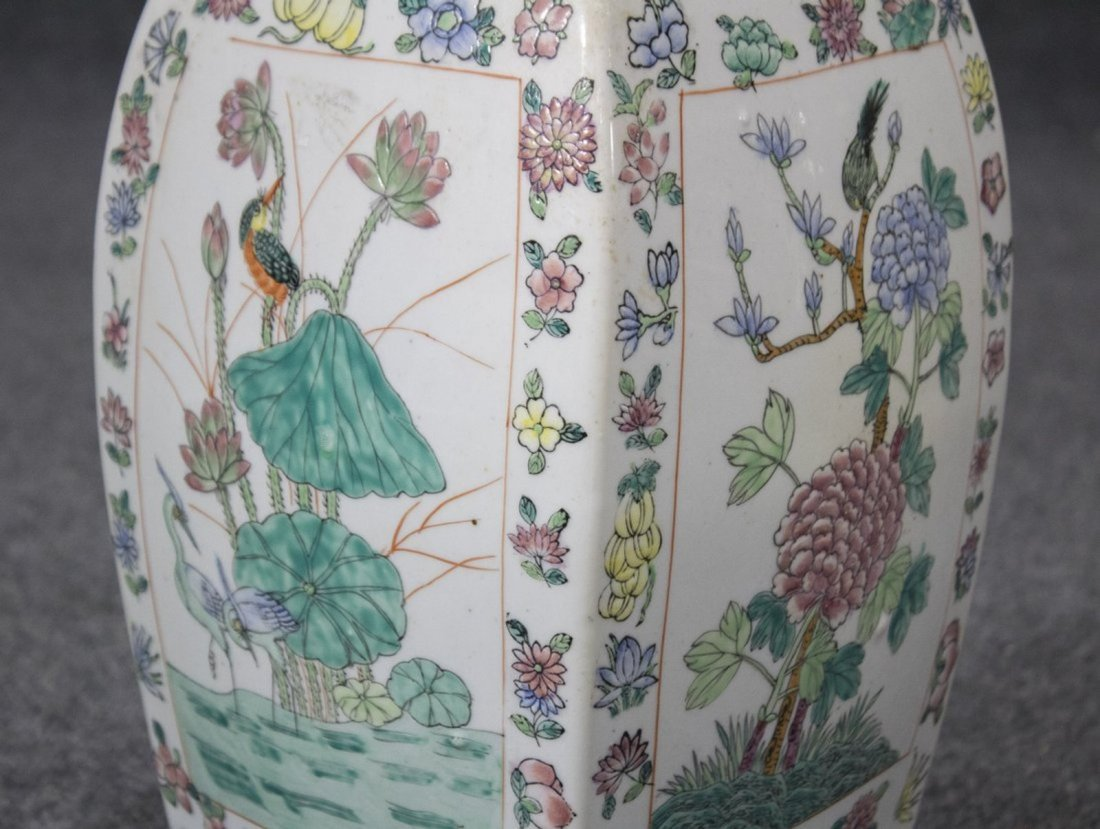 ORIENTAL PORCELAIN COVERED JAR WITH COVERED SIGNED - 2
