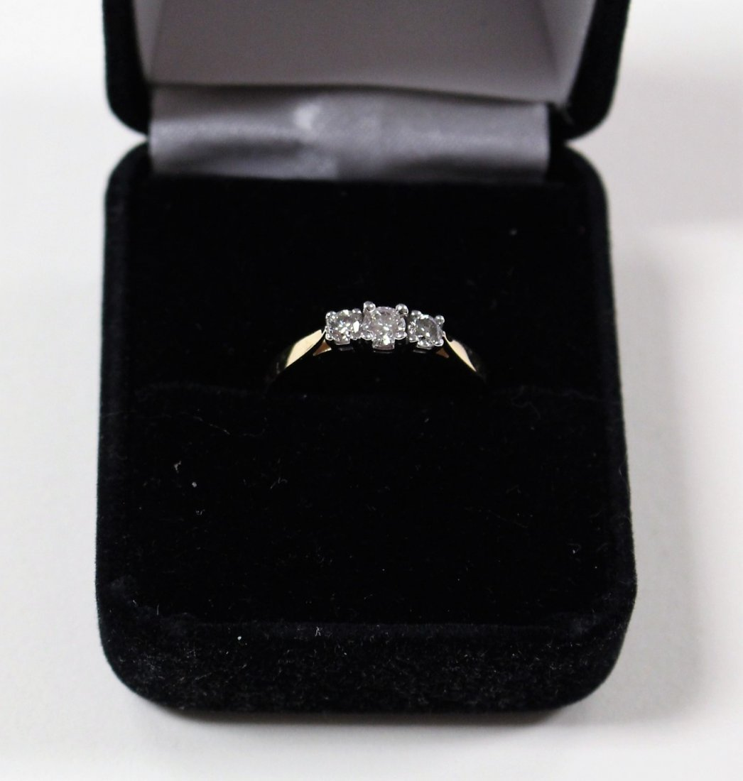 DIAMOND RING 14 K WHITE GOLD, PAST, PRESENT, FUTURE - 2