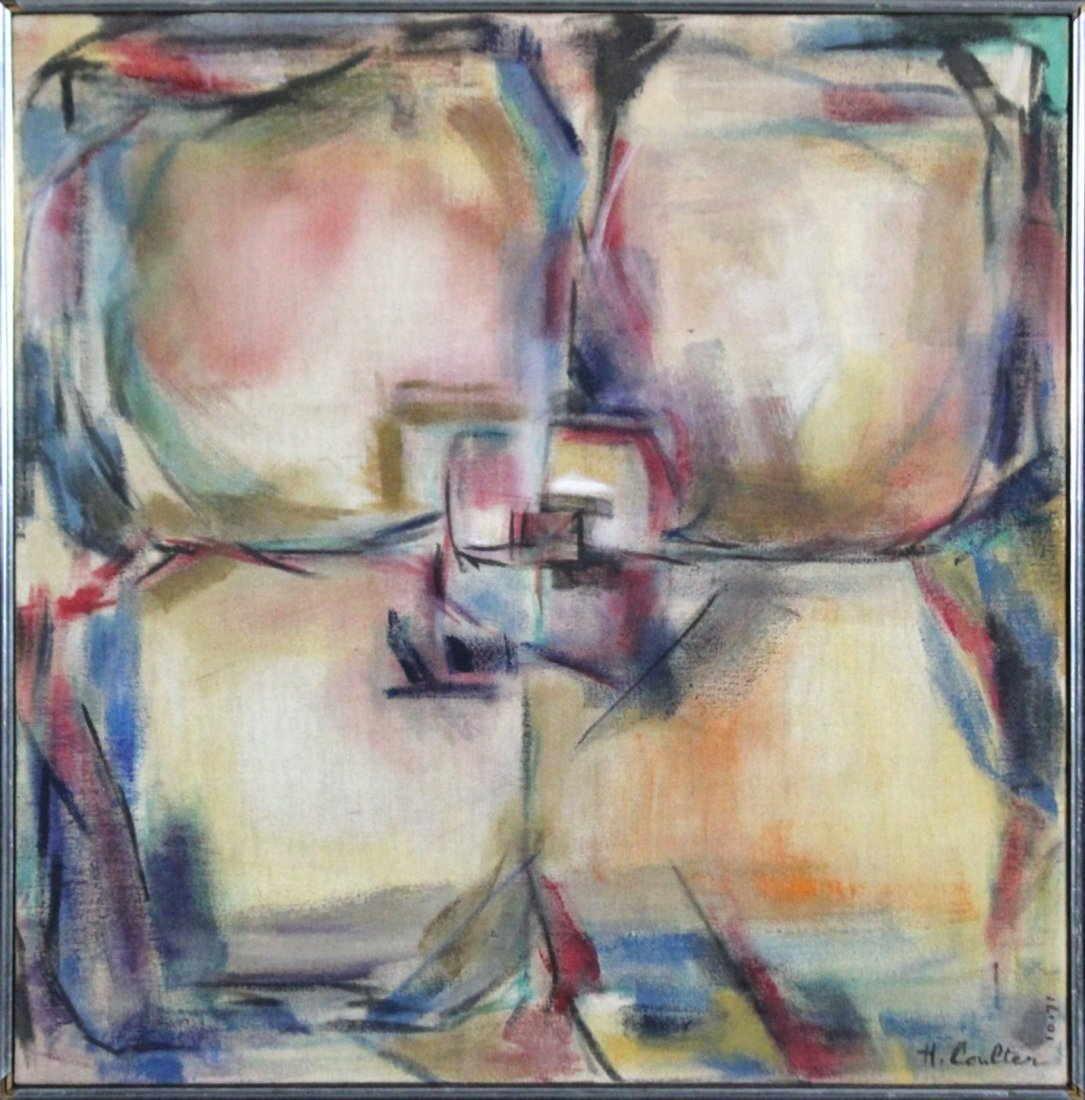 1971 H Coulten abstract painting mid-century modern