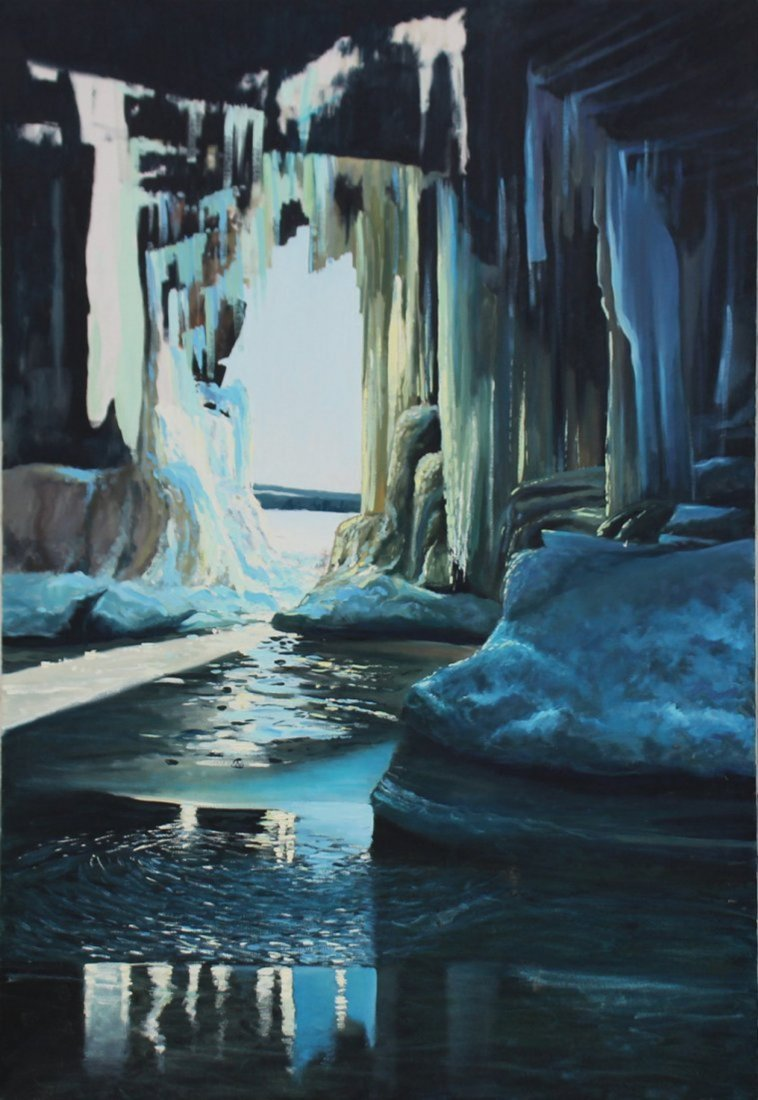 Large ARCTIC ICE CAVERN Oil on Canvas Painting