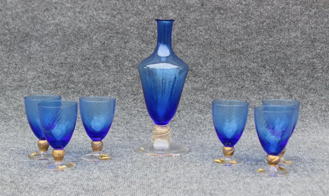 Vintage Italian Murano decanter and goblet set Gold