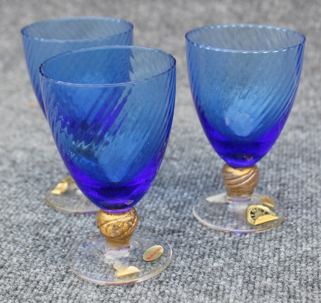 Vintage Italian Murano decanter and goblet set Gold - 2
