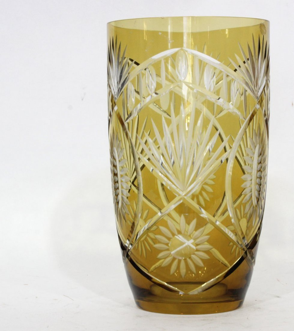 Bohemian Cut Glass Vase - Amber Cut To Clear - 2