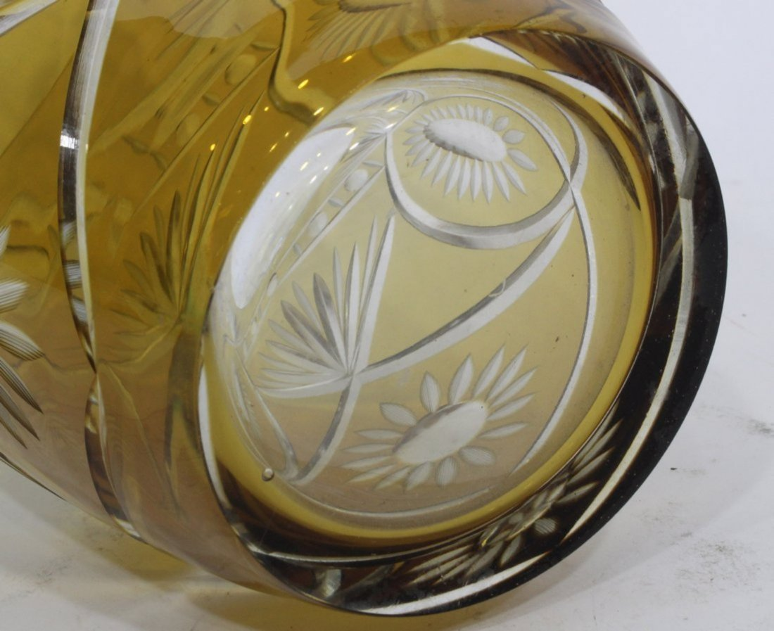 Bohemian Cut Glass Vase - Amber Cut To Clear - 4