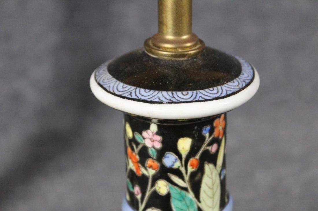 Pair ASIAN ORIENTAL PORCELAIN CANDLESTICK LAMPS - 4