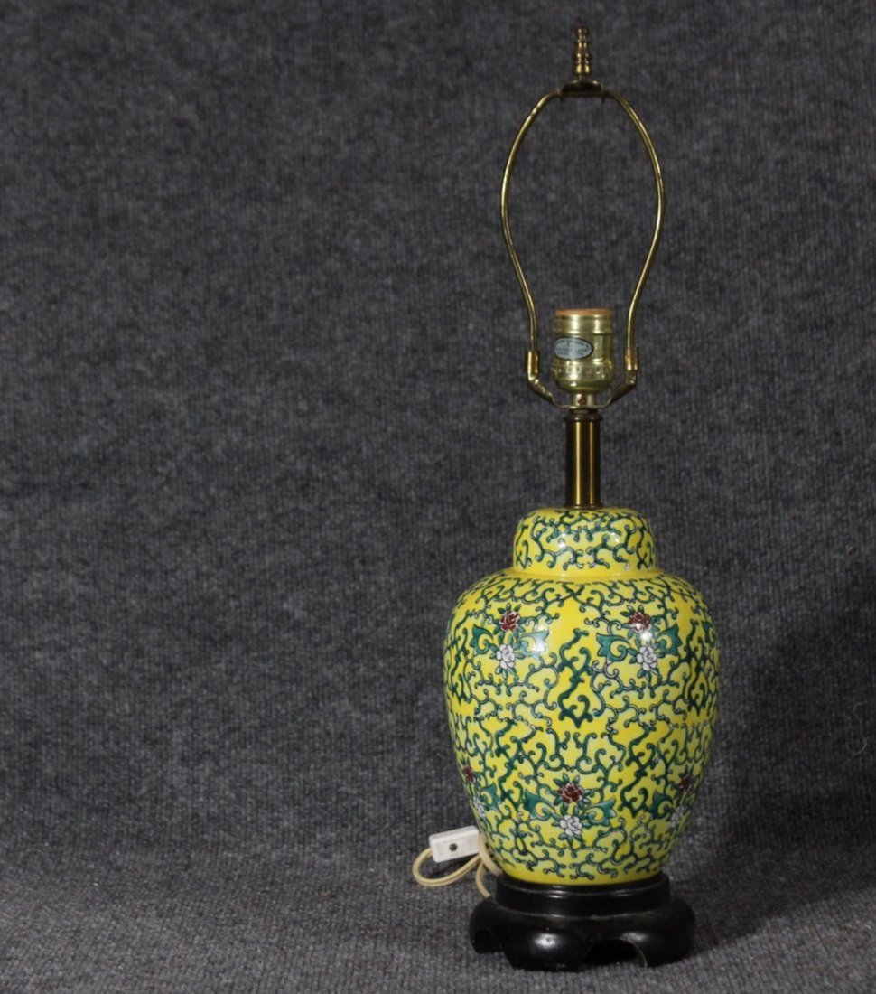 ASIAN ORIENTAL YELLOW PORCELAIN GINGER JAR LAMP