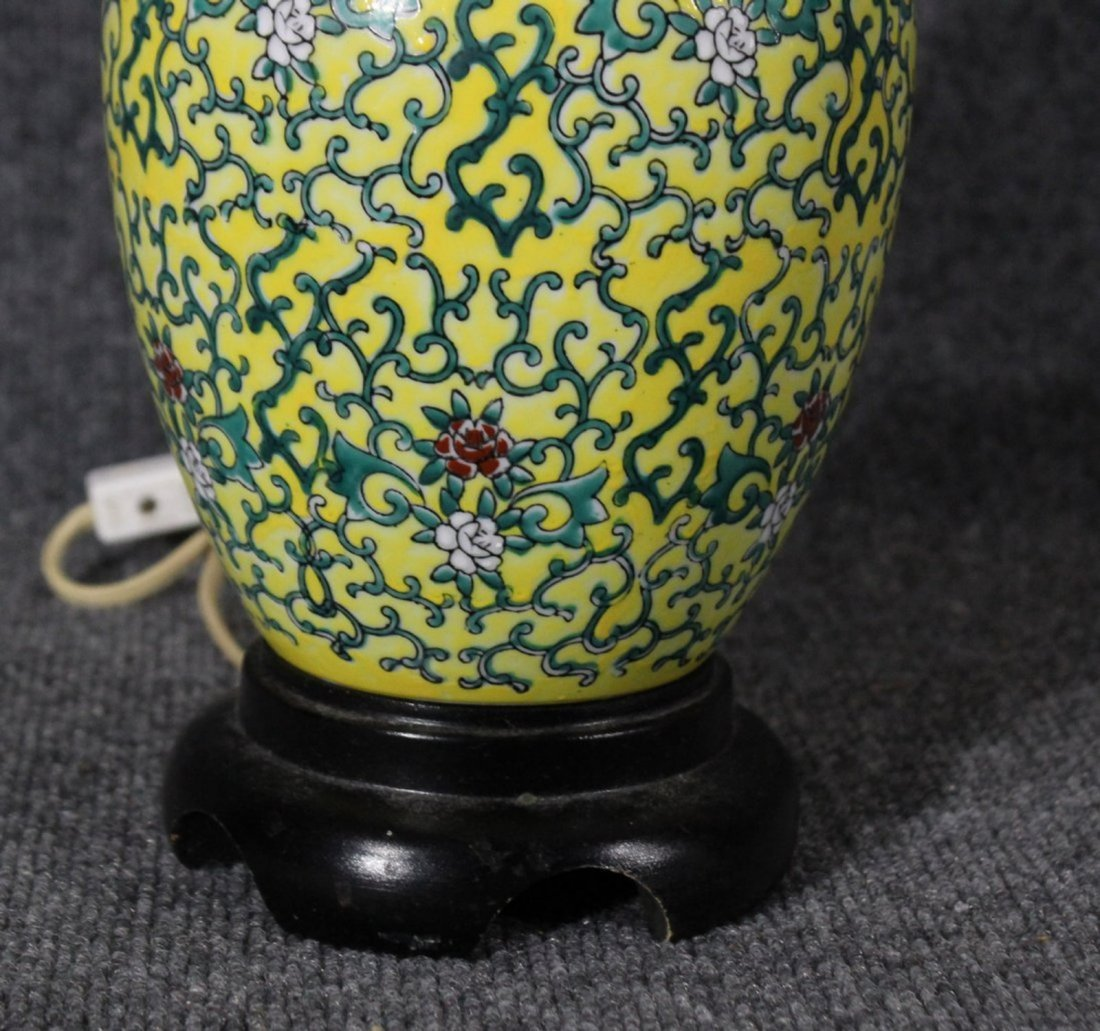 ASIAN ORIENTAL YELLOW PORCELAIN GINGER JAR LAMP - 3