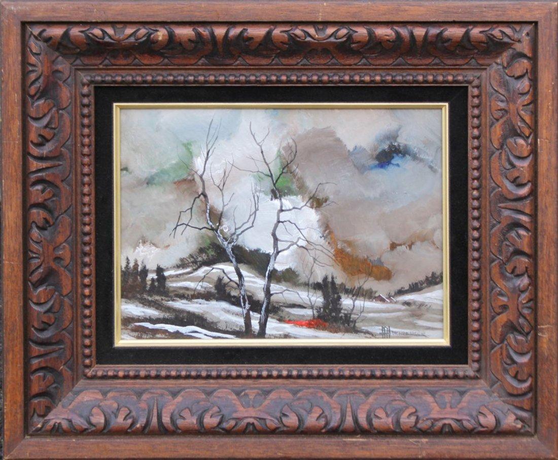 Don Hornberger [1921-2006] Painting Winter Landscape