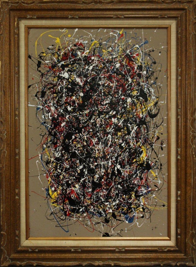 JACKSON POLLOCK STYLE Mid-Century Mod Drip Art Painting