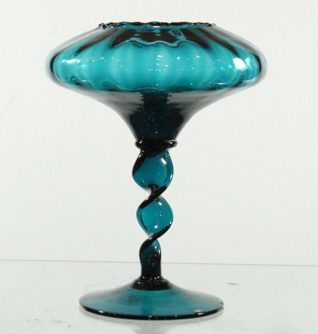 Fantastic MID CENTURY ITALIAN TEAL GLASS COMPOTE TWIST