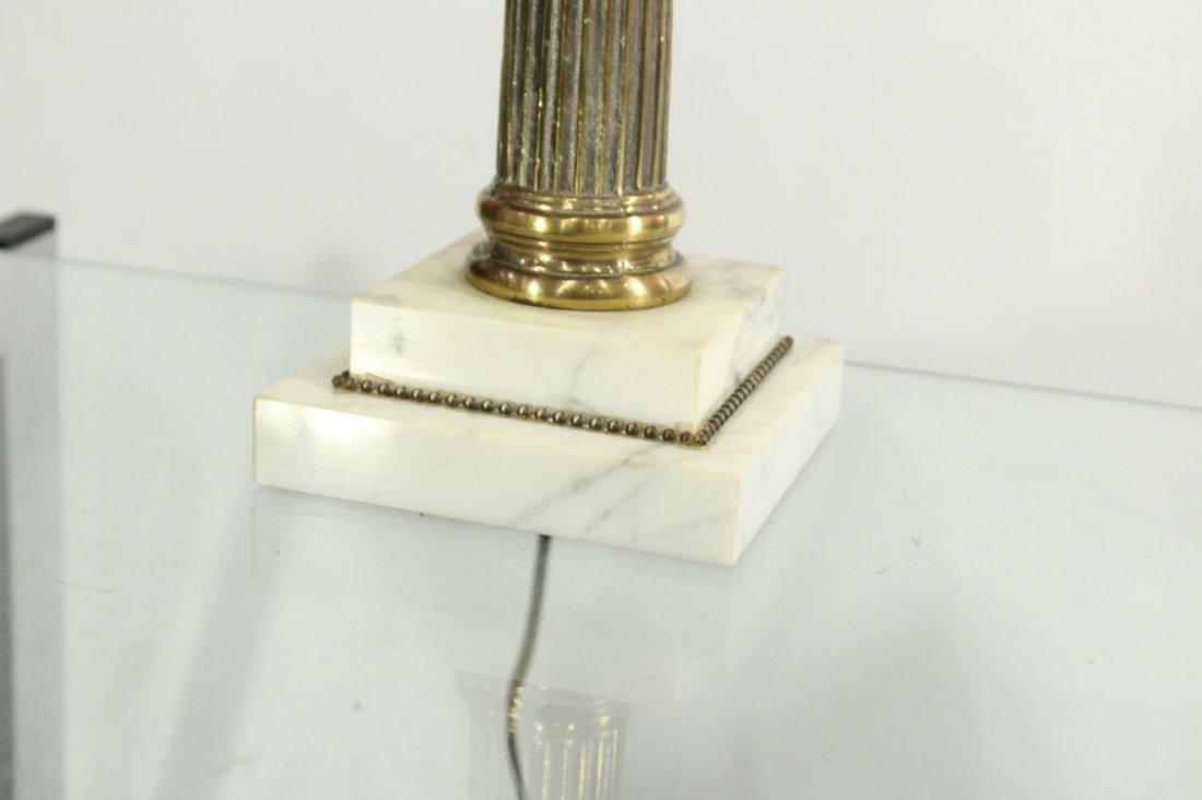 Cranberry Glass Font Brass Column HURRICANE LAMP - 3