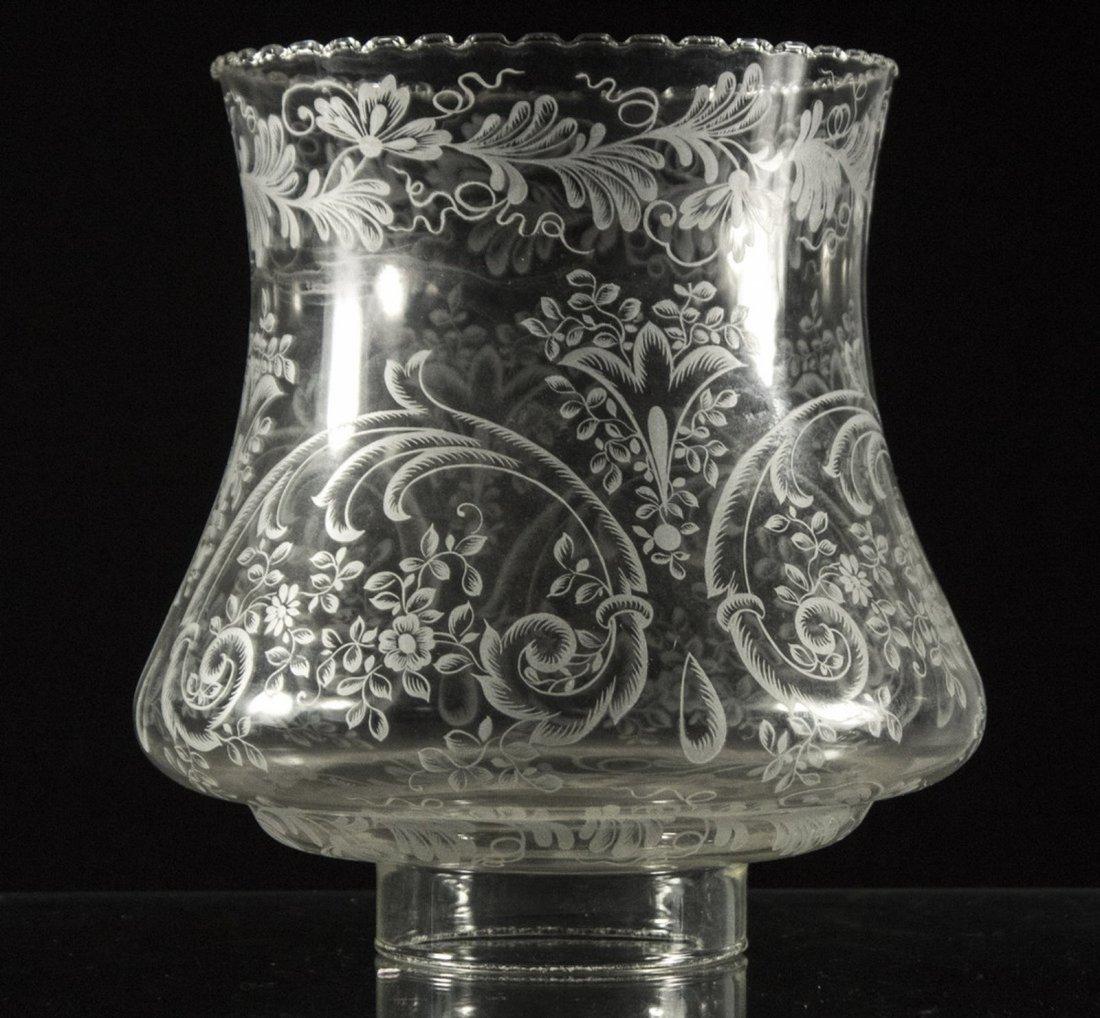 Cranberry Glass Font Brass Column HURRICANE LAMP - 7