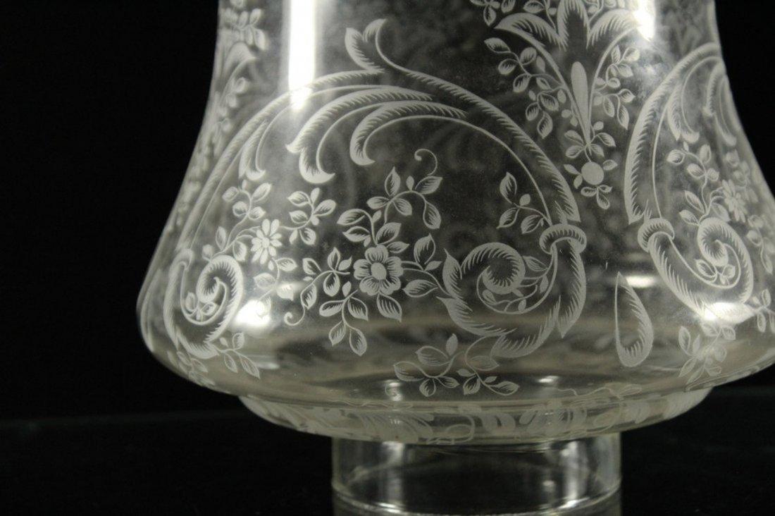 Cranberry Glass Font Brass Column HURRICANE LAMP - 8