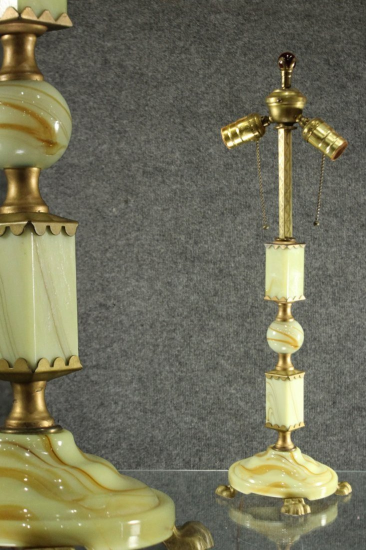 Mid Century ART DECO GREEN ONYX TABLE LAMP
