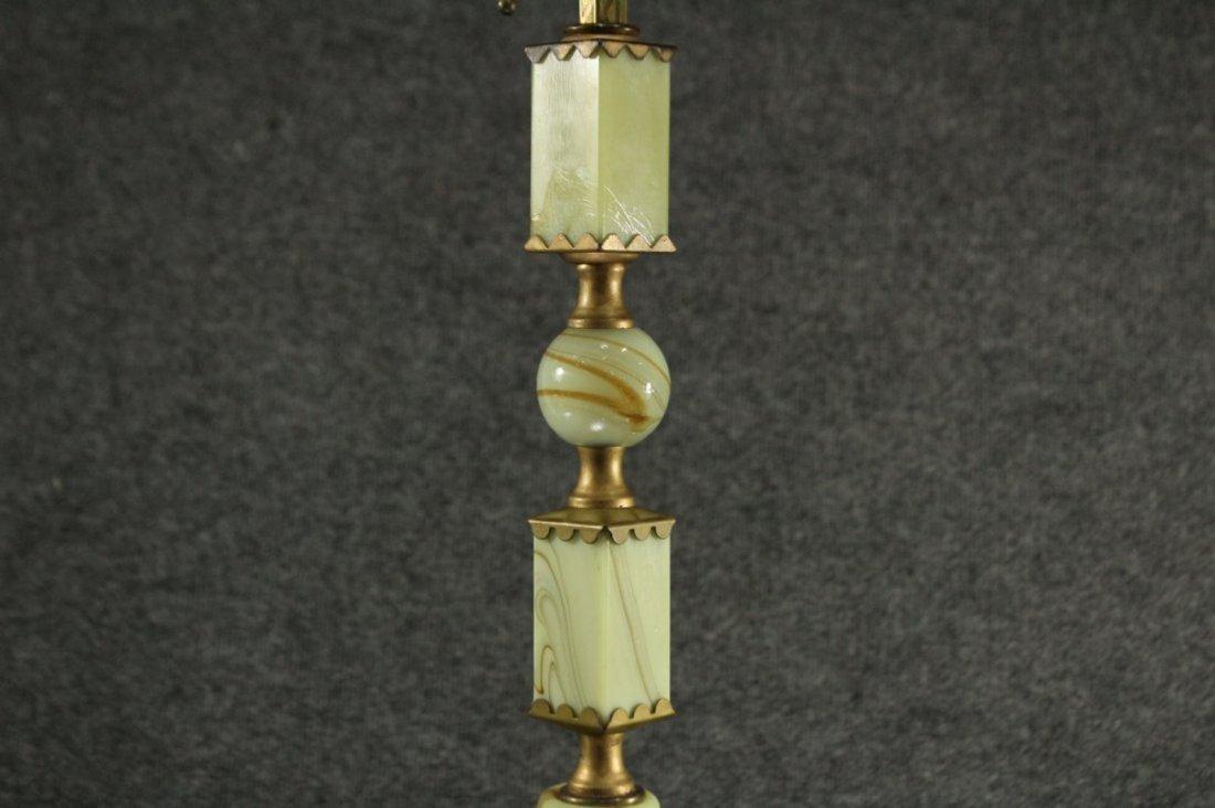 Mid Century ART DECO GREEN ONYX TABLE LAMP - 2