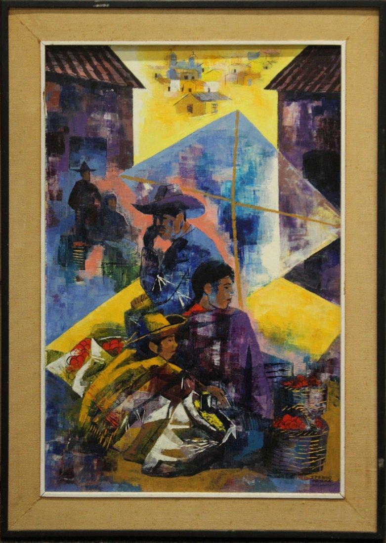 EPIFANIO ORTEGO 1967 MEXICO - Mid Century Oil Painting
